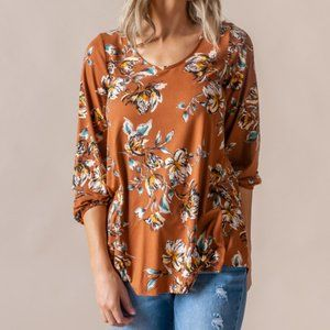 Rust Floral Everyday Balloon Sleeve Tee